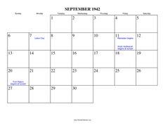 Image result for september 1942 calendar