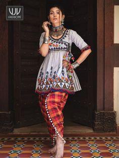 Off White Khadi Readymade Navratri Kediya with Dhoti Salwar 181100 Salwar Designs, Kurti Designs Party Wear, Blouse Designs, Garba Dress, Navratri Dress, Choli Dress, Chaniya Choli For Navratri, Ghagra Choli, Pakistani Dress Design