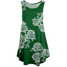 Simply Aster Green & White Floral Tunic (20 CAD) ❤ liked on Polyvore featuring tops, tunics, white sleeveless tunic, green tunic, floral tunic, floral sleeveless top and flower print tops