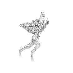 Dancing Angel Lapel Brooch Pin in Plain Metal 14k White Gold