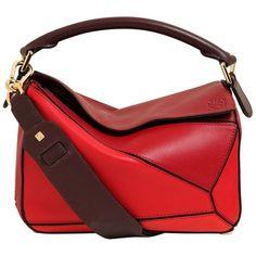 Loewe Women Medium Puzzle Leather Top Handle Bag (125.900 RUB) ❤ liked on Polyvore featuring bags, handbags, shoulder bags, red, crossbody purses, genuine leather handbags, red crossbody, leather cross body purse and leather cross body handbags