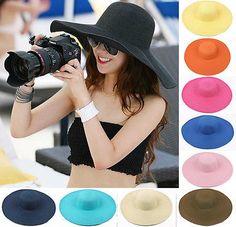 New Fashion Women Floppy Summer Sun Beach Hat Wide Large Brim Folding Straw Cap