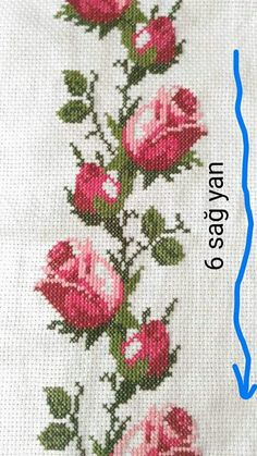 Discover thousands of images about Roses cross stitch. Cross Stitch Bird, Cross Stitch Borders, Cross Stitch Flowers, Cross Stitch Designs, Cross Stitching, Cross Stitch Patterns, Diy Embroidery, Cross Stitch Embroidery, Embroidery Patterns
