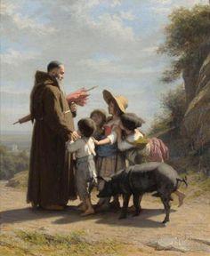 """""""A Franciscan Monk with Children"""" -- Alfred van Muyden (1818 – 1898, Swiss)"""