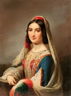 """-Attributed to Joseph Karl Stieler  (German 1781-1858)  -Portrait of a Young Beauty with Feather Fan-possibly Katerina Rosa Botzaris-circa 1850  -Oil on canvas  -Inscribed on stretcher, """"Prof. J. Stieler""""  -31.6 inches x 23.75 inches (80.5 x 60 cm)   -Contained in an impressive vintage gilt-wood frame  -Estimate $6,500-$8,000"""