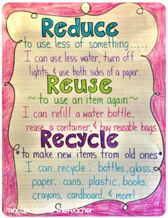 More Earthy Anchor Charts - Earth Day anchor chart / reduce, reuse, recycle Kunsthandwerk Kinder Vorschule First Grade Science, Kindergarten Science, Science Classroom, Teaching Science, Classroom Charts, Preschool Learning, Earth Day Activities, Science Activities, Recycling Activities For Kids