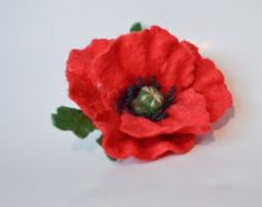 Red poppy-03 Felt Pillow, Red Poppies, Wool Felt, Poppy, Pillows, Etsy, Cushions, Pillow Forms, Cushion