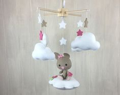 Baby mobile howling coyote mobile moon mobile by littleHooters