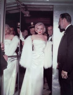 normajeanemonroe: Marilyn attending the premiere of Call Me Madam, 1953.