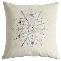 Finding Style Cheap: DIY Christmas Decor Part III: Snowflake Pillow and Frosted Branches