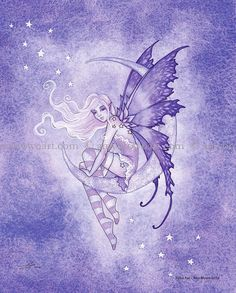 Hand Accented Moon Fairy 5x7 matted 8x10 by Amy by AmyBrownArt