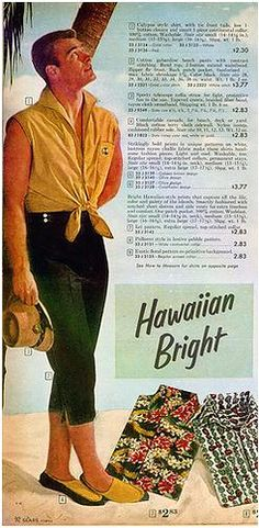 "Standing next to folded Hawaiian shirts and holding a tiny hat never goes out of fashion. Of course, it wasn't ever really IN fashion, either, but that's beside the point. retrogasm: "" Day O… daylight. Funny Vintage Ads, Funny Ads, Vintage Humor, Vintage Men, Retro Vintage, Old Advertisements, Advertising, Vintage Outfits, Vintage Fashion"