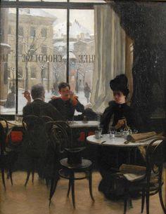 At the Cafe - circa 1887 | Robert Koehler #German, 1850-1917