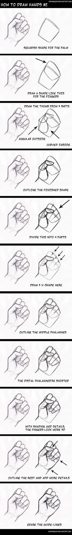 how to draw hands2 by nominee84 on DeviantArt. Es muy interesante. Mas tarde hare esta idea. Ya que nunca me salen bien las manos.