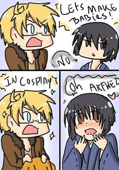 America:let's make babies!  Japan: NO. America: ☆*:.。. In cosplay。.:*☆ Japan: *Q* oh Arfwed (Alfred)<3333 (Ok, I'm not a fan of this yaoi paring, but lmao xD)