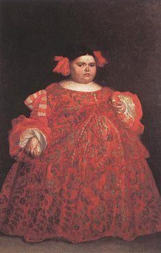 Juan CARREÑO DE MIRANDA,  Eugenia Martinez Valleji, called La Monstrua - Oil on canvas, 165 x 107 cm /  Museo del Prado, Madrid