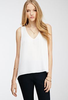 Pleated Chiffon V-Neck Top | Forever 21 - 2000056596