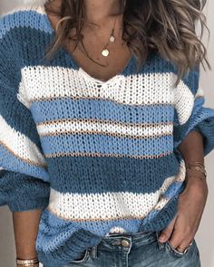 Sweaters for women For Sale - Fashion V-neck Stripe Knit Pullover Sweater Casual Loose Sweaters Women Lazy Wind Vintage Knitted Long Sleeve Thin Jumper Tops. Hello from Powell - Wyoming. Bye from Camilla - Georgia Loose Knit Sweaters, Casual Sweaters, Girls Sweaters, Long Sweaters, Sweaters For Women, Chunky Knit Jumper, Winter Sweaters, Cardigans, Jersey Casual