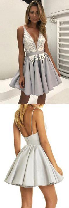 Light Lavender Deep V Neck Short Prom Dress,Sleeveless Appliques Cheap Homecoming Dress H178 Short Prom Dresses, Homecoming Dresses, Prom Gowns, Party Dresses, Graduation Dresses, Short Prom Dresses, Gowns Prom, Cheap Prom Gowns on Line