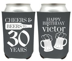 30th Birthday Can Coolers - Cheers and Beers to 30 Years Birthday Party Can…