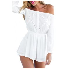 White Off The Shoulder Long Sleeve Casual Romper ($14) ❤ liked on Polyvore featuring jumpsuits, rompers, playsuit romper, off the shoulder jumpsuit, off shoulder romper, long sleeve rompers and jumpsuits & rompers