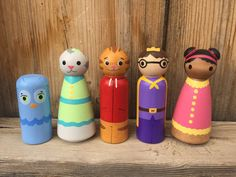 Daniel Tiger set of 5 hand painted wood peg people by PegBuddies