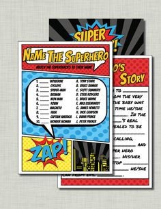 Superhero baby shower games DIY pdf files--instant downloads