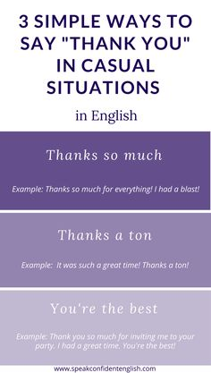 Daily English. In the United States, Americans are preparing to celebrate Thanksgiving this week. Here are some great ways to express your thanks and appreciation in English. https://www.speakconfidentenglish.com/saying-thank-you-english/?utm_campaign=coschedule&utm_source=pinterest&utm_medium=Speak%20Confident%20English%20%7C%20English%20Fluency%20Trainer&utm_content=New%20Ways%20to%20Say%20Thank%20You%20and%20You%27re%20Welcome%20in%20English