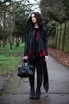 Fashion blogger Stephanie of FAIIINT wearing black Barneys Originals draped leather jacket, Lookbook store red tartan plaid shirt, OASAP asy...