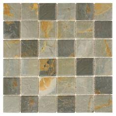 SomerTile 12 x 12-inch 'Pizarra' Slate Porcelain Mosaic Tile (Pack of 10) | Overstock.com Shopping - The Best Deals on Floor Tiles