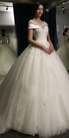 Junoesque Tulle & Satin Scoop Neckline Ball Gown Wedding Dress With Lace Appliques & Beadings & 3D Flowers
