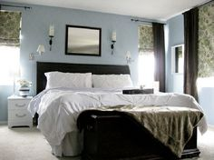 master bedroom ideas.. love the wall color and white bedding..