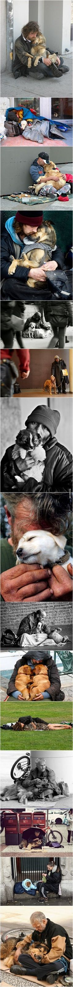 Human kindness.  No matter how hard life is, your pets and family come first, and give meaning to life, itself. These photos moved me, immensely.