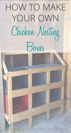 Backyard chickens for beginners. How to build dirt cheap chicken nesting boxes. How to build nesting boxes for your chickens using materials you have around your farm for next to nothing! Cheap Chicken Coops, Portable Chicken Coop, Backyard Chicken Coops, Chicken Coop Plans, Building A Chicken Coop, Chicken Tractors, Raising Backyard Chickens, Keeping Chickens, Urban Chickens
