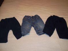 Lot of 3 Infant Pants 6-12 Months Carter's Baby Gap Baby Q Blue Denim Jeans #Carters