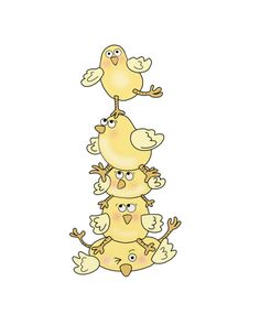 Free Digital Stamp - Easter Chick Pile