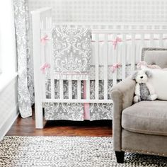 Love the new pink and gray color combination in baby crib sets!