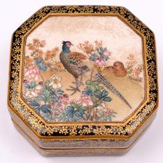 w//PORCELAIN TOP ASIAN CHINESE FLORAL TRINKET BOX Gold FREE US SHIPPING!