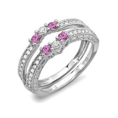 0.60 Carat (ctw) 18k White Gold Round Pink Sapphire And White Diamond... (815 CAD) ❤ liked on Polyvore featuring jewelry, rings, white, white gold solitaire ring, anniversary rings, pink sapphire ring, white gold jewelry and white gold diamond ring