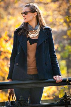 Fall Layers: Chambray, Animal Sweater & Pea Coat