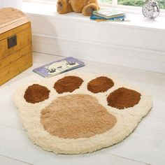 Cuddly Cute Paw Print Rug For Bedroom Or Play E Soft Fleecy Childrens Rugsnursery