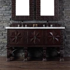 "Check out the James Martin Furniture 150-V60D-ANW-CAR Balmoral 60"" Double Vanity in Antique Walnut with Carrera White Stone Top - Vanity Top…"