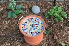 Mosaic tile bird bath DIY for kids