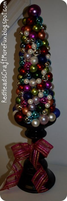 Glass Ornament Tree made with candlestick base Christmas Is Coming 3d23d7d15