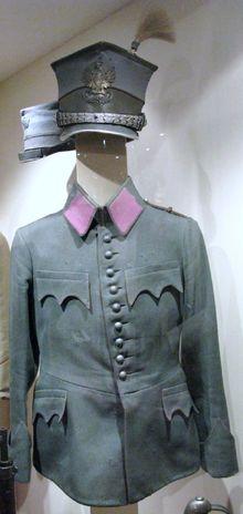 "AH Polish Legion - Uniform of the Ułanów 2nd Cavalry Regiment of the Polish Legion of the AH army. Peaked hat is the distinctive ""Rogatywka"". 1914 - 1918. WW1."