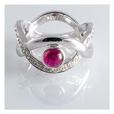 Natural No Heat Burma Ruby set in Designer White Gold Ring with... ($1,139) ❤ liked on Polyvore featuring jewelry, rings, cabochon ring, white gold diamond rings, 14k ruby ring, 14 karat gold ring and white gold rings