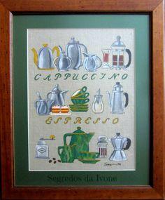 PL5- Quadro pintado em linho- Cappuccino Espresso