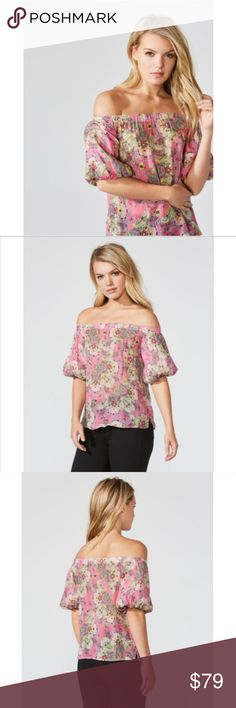 Anthropologie Bailey 44 Tune In Off Shoulder Top Designer Bailey 44 Tune In Top  Size S  New with Tags currently retailing in stores for $168 +tax  Pink  The Bailey 44 Tune In Top is an off the shoulder paisley print top with bubble hem sleeves. Features elastic across the top for comfort and ease  Elasticized cuffs  vented hem floral paisley print Lined at sleeves, pullover style Fits True To Size Length in size S: 25 1/2 in.	 Paisley Floral Print:  100% Viscose   Bailey 44 Tune In Top Size…