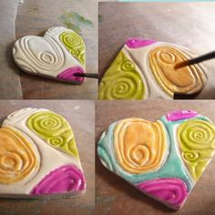 Alcohol Inks give polymer clay a glazed look air hardening oven bake jewellery pendants texture