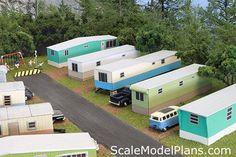 HO Scale Model Railroad trailer park cardstock version.
